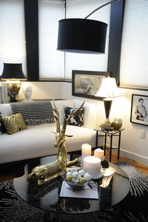 black white gold glam living room  decorate