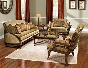 Rosetta, Traditional, Style, Solid, Wood, Sofa, Furniture, Set
