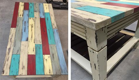 Table in Many Milk Paint Colors Distressed   General