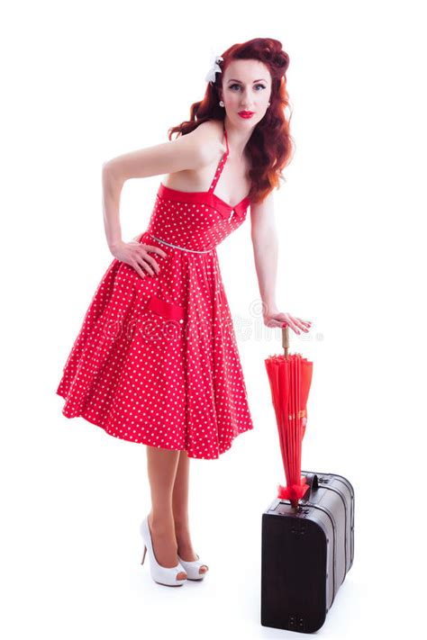 Beautiful Retro Pin up Girl With Red Polka Dot Dress Stock