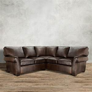 Brentwood 124quot leather three piece sectional in anilina for Elena leather 2 piece sectional sofa
