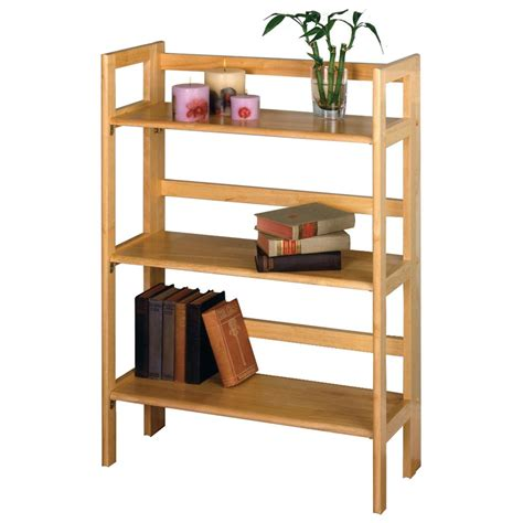 winsome wood folding bookcase winsome 3 tier folding stackable shelf 151032