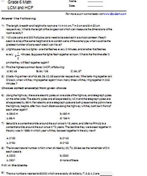 all worksheets 187 hcf and lcm worksheets pdf printable