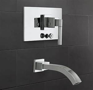 Modern Balanced Pressure Tub  U0026 Shower Valve  U0026 Trim Set With Bath Spout