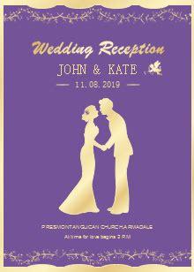 purple background wedding invitation templates