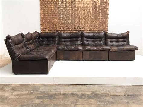 distressed leather sectional gypset 1970s chocolate brown distressed leather sectional