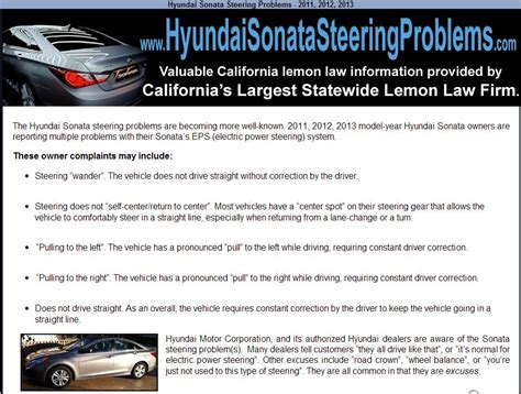 Certain vehicles may have unrepaired safety recalls. 2013 Hyundai Sonata Steering Problems