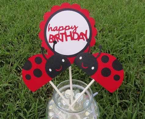 Set Of 3 Ladybug Centerpieces Or Cake Toppers For Birthday