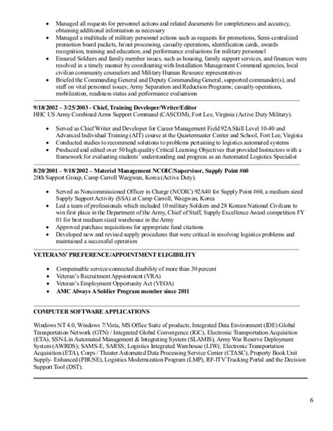 92a Civilian Resume by Logistics Management Resume For Shawn Gibson 5 December 2014 1