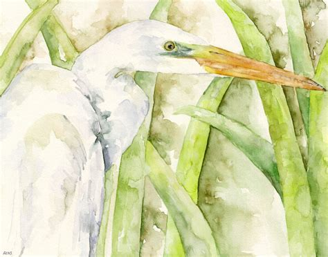 Egret Painting Print From Original Watercolor Painting