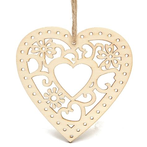 pcs wooden laser cut heart shapes craft embellishments