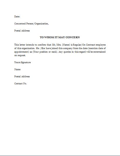 proof  employment letter template word excel templates