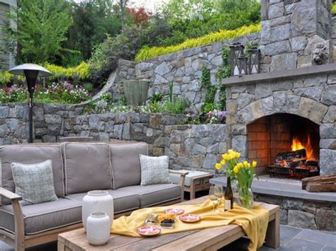 Stone Backyard Unique Outdoor Stone Fireplace Ideas