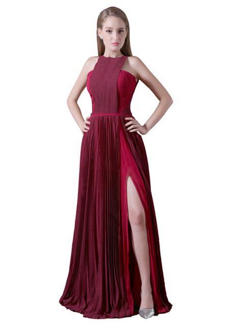 A-line Jewel Chiffon Matric Dance Dress Slit [VIVIDRESS8562] - R1968  vividress.co.za