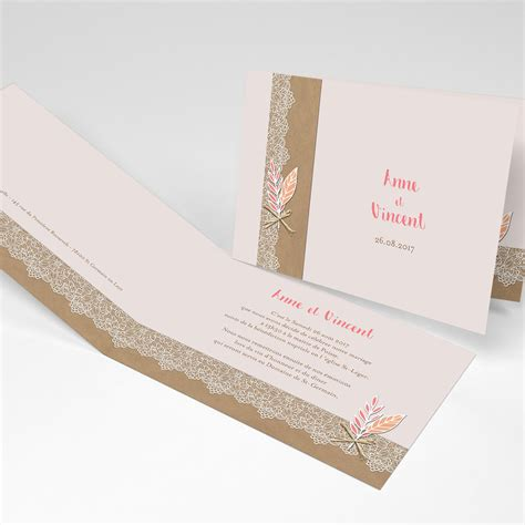 faire part mariage boh 232 me chic mariage rectangle