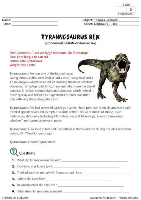reading comprehension worksheet dinosaurs primaryleap co uk fact sheet tyrannosaurus rex