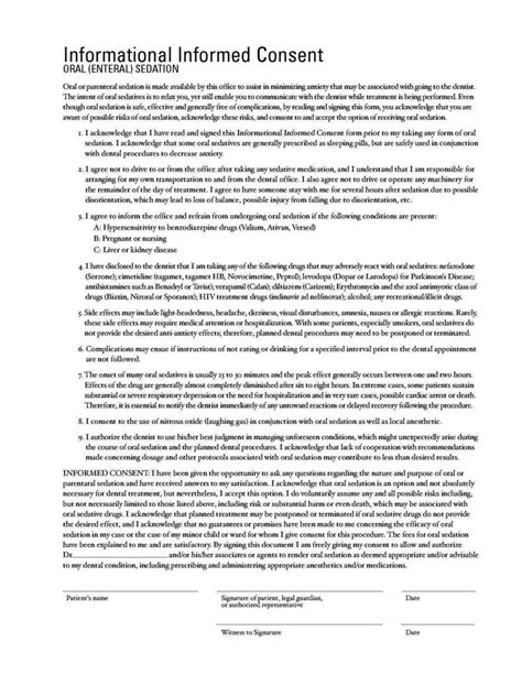 dental informed consent form template sampletemplatess
