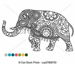 Elephant mandala ornament with colors samples Elephant vector clipart Search Illustration
