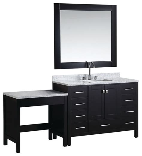 london 48 quot single sink vanity set with make up table