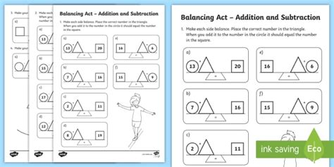 Ks1 Balancing Act Addition And Subtraction Worksheet Activity