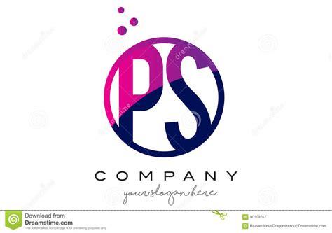 Ps P S Circle Letter Logo Design With Purple Dots Bubbles