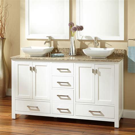 single sink vanity to double sink 60 quot modero double vessel sink vanity white bathroom