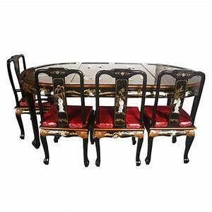 Table chinoise de salle a manger avec 6 chaises et 2 for Meuble salle À manger avec chaise de couleur