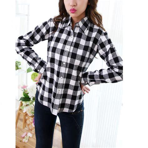 hot sale white blackred checkered plaid shirt female long