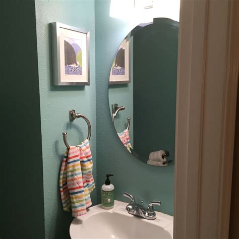 redid our small bathroom in paint color valspar lake country 5003 5c for the home in 2019