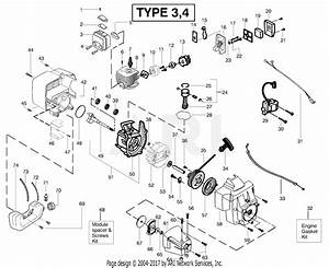 Poulan Bc2500le Gas Trimmer Type 4 Parts Diagram For Engine Assembly Type 3  U0026 4
