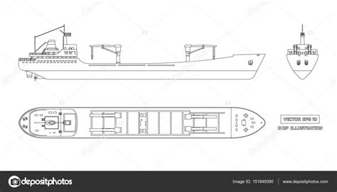 Boat Front View Drawing by Outline Drawing Of Cargo Ship On A White Background Top