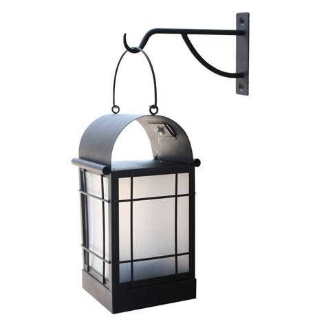 moonrays arched 1 light black outdoor integrated led wall mount lantern with solar powered