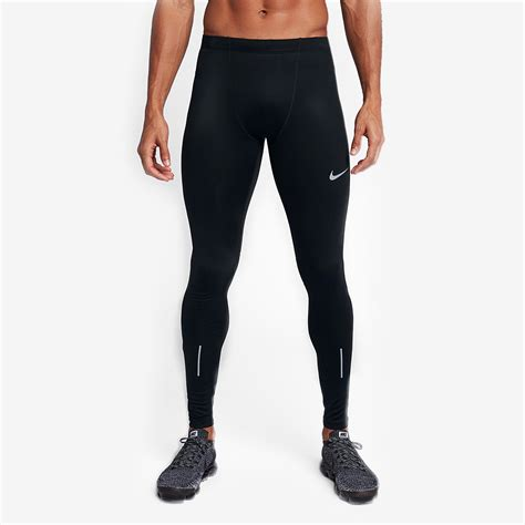 mens nike running tights black mens clothing