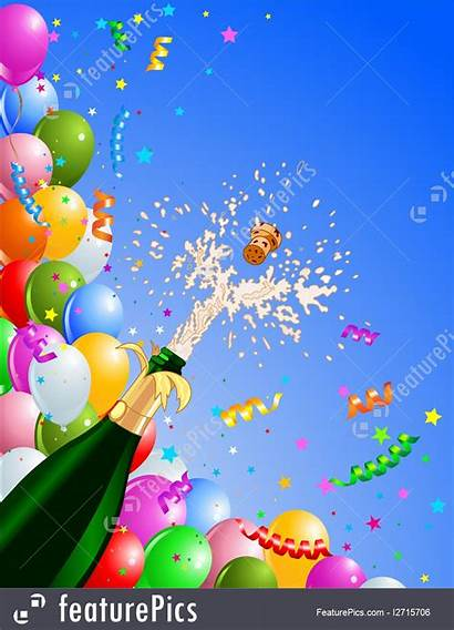 Celebration Background Balloons Eve Champagne Illustration Featurepics