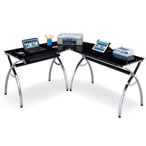 black glass l shaped desk rta products techni mobili corner l shaped black glass