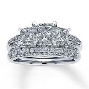 trio wedding ring sets jared jared bridal set 1 1 2 ct tw princess cut 14k white gold