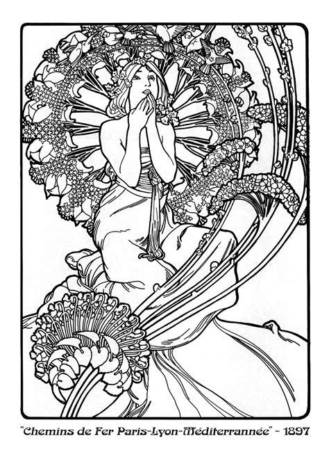 Jugendstil Kleurplaat by Alphonse Mucha Zoeken Mucha