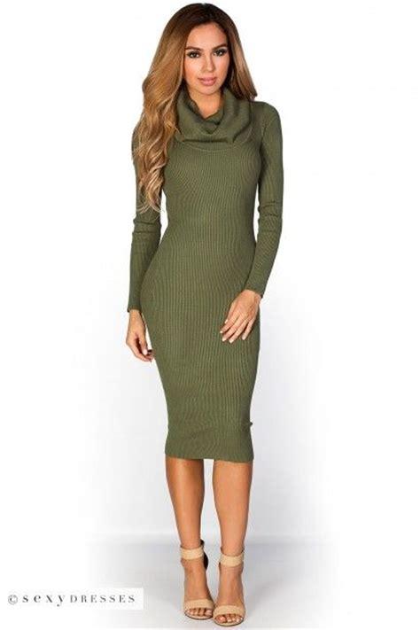 Olive Green Turtleneck Sweater Dress - Long Sweater Jacket