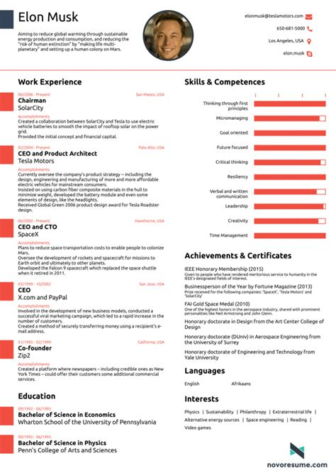 femme de chambre cv what elon musk 39 s cv looks like all in one page