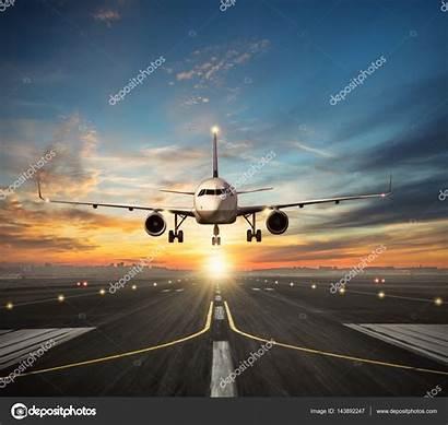 Landing Runway Airplane Airport Sunset Depositphotos Jag