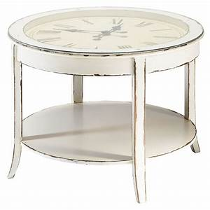 Glass and wood round clock coffee table in white with for Distressed white round coffee table
