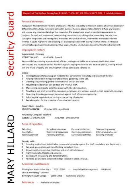 Bodyguard Resume by Security Guard Resume Template 5 Security Guard Cover Letter 5 Career Security Guard