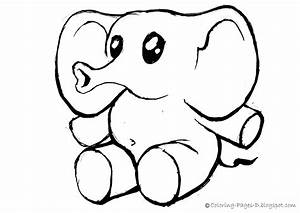 Cute Elephant Outline Drawing