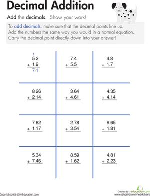 5 digits addition with decimals decimal addition worksheet education