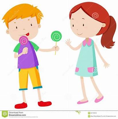 Sharing Candy Delen Clipart Boy Illustrations