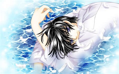 Blue Haired Anime Boy Wallpaper - water wings blue anime anime boys cl black hair