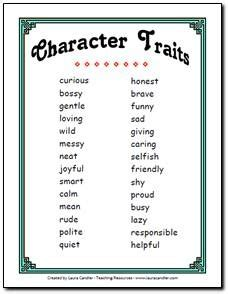 character trait list  primary grades