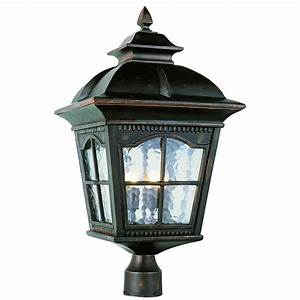 Four light antique rust large outdoor post trans