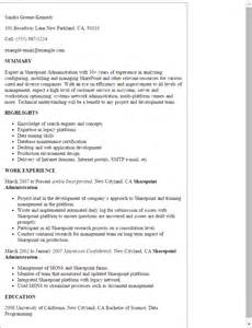 Sharepoint Resume Templates by Professional Sharepoint Administration Templates To