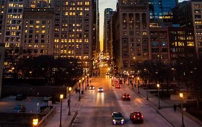 Road Night Lights Street Background Traffic Architecture